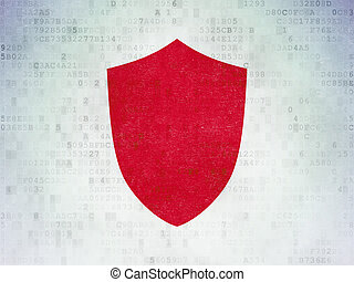 Security concept: Shield on Digital Data Paper background