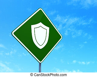 Security concept: Shield on road sign background