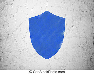 Security concept: Shield on wall background