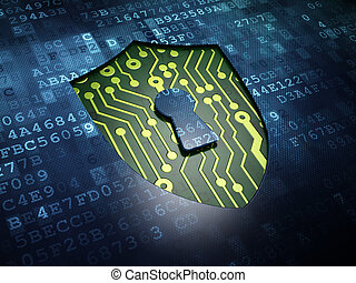 Security concept: Shield With Keyhole on digital screen ...