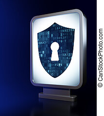 Security concept: Shield With Keyhole on billboard background
