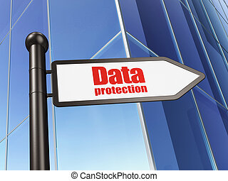 Security concept: sign Data Protection on Building background