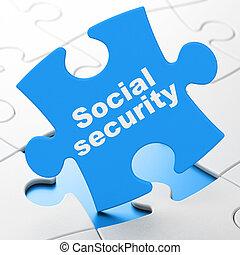 Security concept: Social Security on Blue puzzle pieces background, 3d render