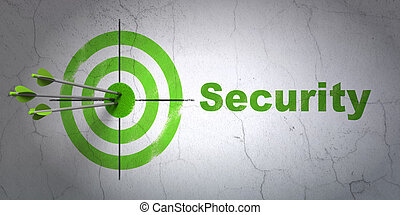 Security concept: target and Security on wall background