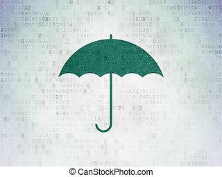 Security concept: Umbrella on Digital Data Paper background