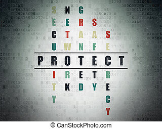Security concept: word Protect in solving Crossword Puzzle