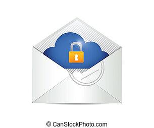 security., conception, enveloppe, nuage, illustration