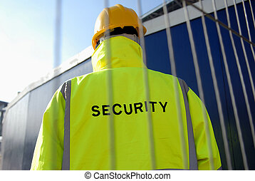 Security man on construction site.