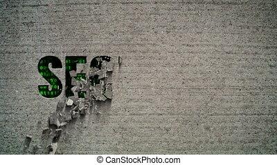 Security Crumbling Wall - Crumbling wall revealing a green...