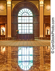 Security Desk in Marble Lobby - A security or reception desk...