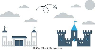 Upgrade concept, small and big comparison, vector illustration