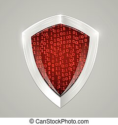 Security digital shield concept. Web security or cryptocurrency sign.