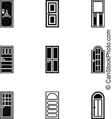 Security doors icons set, simple style