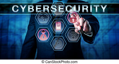 Security engineer is pushing CYBERSECURITY on an interactive virtual control screen. Computer security concept and information technology metaphor for risk management and safeguarding of cyber space.