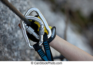 Security equipment - Securing to the steel rope on via ...