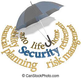 Security financial planning umbrella words - Umbrella symbol...