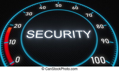 Security futuristic meter or indicator. Conceptual 3D...