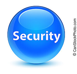 Security glassy cyan blue round button