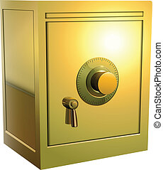 gold safe icon - Security gold safe icon isolated, vector...