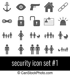 Security. Gray icons on white background.