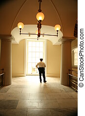 Security guard at museum