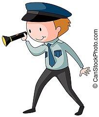 Security guard - Closeup security guard holding a torch