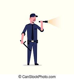 security guard man in black uniform holding flashlight baton...