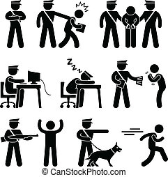 A set of pictograms representing security guard/police and thief.