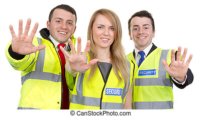 Security guard team working together with a stop gesture, ...