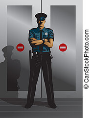 Vector illustration of a security guard guarding a restricted area.
