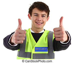 Security guard with a thumbs up sign