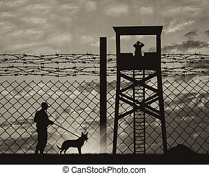 Security guard with dog on the border