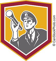 Security Guard With Flashlight Shield Retro