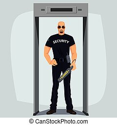 Security guard with metal detector - Safety guard, man in...