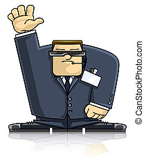 Security hand up - security man in suit and goggles vector ...