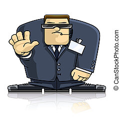 Security hands - security man in suit and goggles vector ...