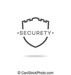 Security icon black color and flat style isolated on white background. Vector illustration