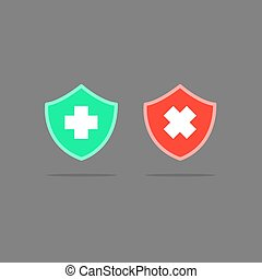 Security icon button, icon good and danger, vector illustration