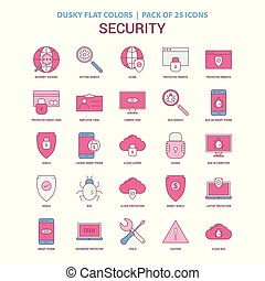 Security icon Dusky Flat color - Vintage 25 Icon Pack