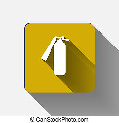 Security icon. Fire extinguisher icon on yellow background. vector illustration
