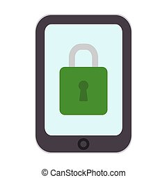 Security icon. Mobile locking design vector phone