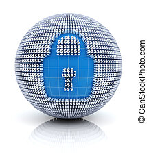 Security icon on globe formed by dollar sign, 3d render