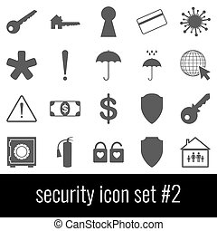 Security. Icon set 2. Gray icons on white background.