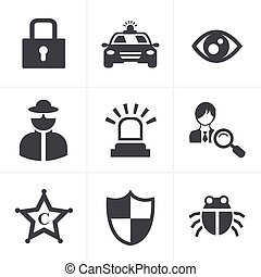 Security icon set on white background