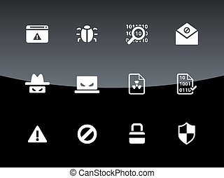 Security icons on black background.