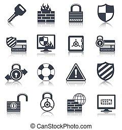 Security icons set black