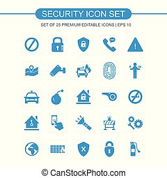 Security icons set blue