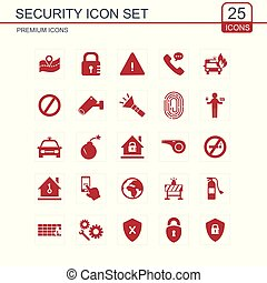 Security icons set red