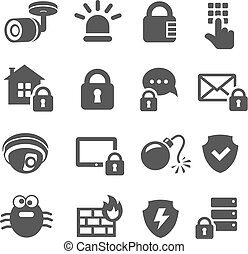 Security icons. Web mobile IT data protection set