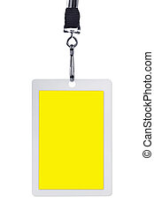 Blank yellow security identification pass on a lanyard, isolated on white.